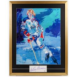 "LeRoy Neiman Signed ""The Great Gretzky"" 25.5x32.5 Custom Framed Cut Display (PSA COA)"