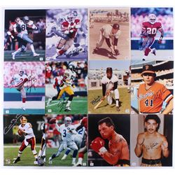 Lof of (12) Signed 8x10 Assorted Photos with Drew Pearson, Lou Boudreau, Tom Rathman, Derek Loville,
