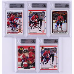 Lot of (5) Jeremy Roenick Signed Hockey Cards with 1990-91 Score #179 RC, 1990-91 Upper Deck #63 RC,