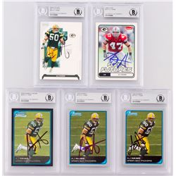Lot of (5) Signed A.J. Hawk Rookie Football Cards with (1) 2006 Playoff NFL Playoffs #82 (1) 2006 Fl