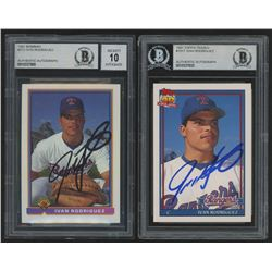 Lot of (2) Ivan Rodriguez Signed 1991 Rookie Baseball Cards with (1) Topps Traded #101T  (1) Bowman