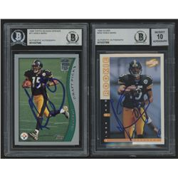 Lot of (2) Hines Ward Signed 1998 Rookie Football Cards with (1) Topps Season Opener #11  (1) Score