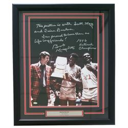 "Bobby Knight Signed Indiana Hoosiers 22"" x 27"" Custom Framed Photo Display Inscribed ""1976 National"