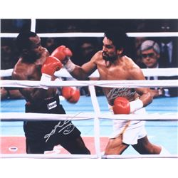 Sugar Ray Leonard  Roberto Duran Signed 16x20 Photo (PSA COA)