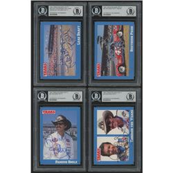 Lot of (4) Richard Petty Signed 1991 Traks Racing Cards with (1) #22 Richard Petty / Earn / D.Waltri