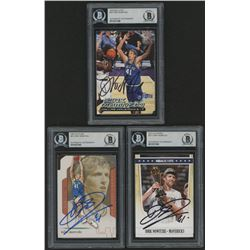 Lot of (3) Dirk Nowitzki Signed Basketball Cards with (1) 2011-12 Hoops #271 (1) 2001-02 Flair #41 (