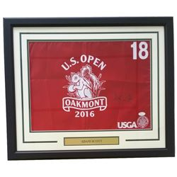 Adam Scott Signed 2016 US Open 22x27 Custom Framed Pin Flag Display (JSA COA)