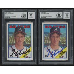 Lot of (2) Tom Glavine Signed Baseball Cards with 1988 Topps #779 (Beckett Encapsulated)