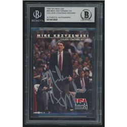 Mike Krzyzewski Signed 1992 SkyBox USA #96 CO / College Coaching Record (Beckett Encapsulated)