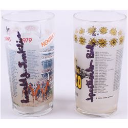 Lot of (2) Ron Franklin Signed Vintage Souvenir Glasses with 1979 Kentucky Derby  1979 Preakness Ins