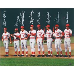 "Reds ""Big Red Machine"" 1975 World Series 16x20 Photo Signed by (8) With Pete Rose, Joe Morgan, Tony"