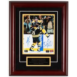 Brad Marchand  Andrew Ference Signed 15x19 Custom Framed Photo Display (YSMS COA  Marchand Hologram