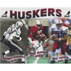 Johnny Rodgers, Mike Rozier  Eric Crouch Signed Huskers 8x10 Photo (FSC COA)