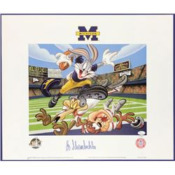 """Bo Schembechler Signed LE Michigan Wolverines """"Bugs Knows Bo"""" 19x23 Lithograph (JSA COA)"""