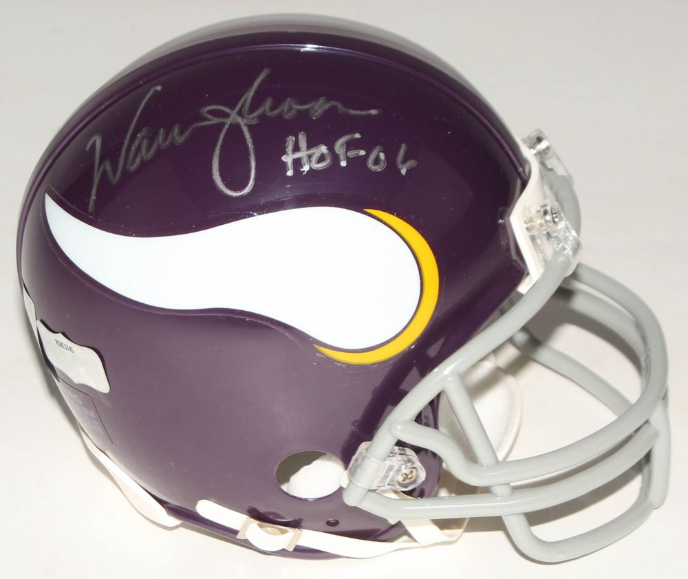 Image 1   Warren Moon Signed Vikings Mini Throwback Helmet Inscribed