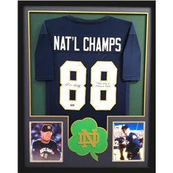 """Lou Holtz Signed Notre Dame Fighting Irish 34x42 Custom Framed Jersey Inscribed """"Play Like A Champio"""