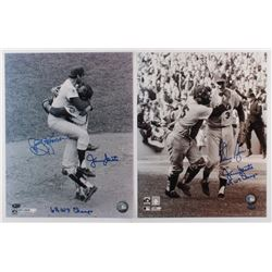 Lot of (2) Dual-Signed 1969 World Series New York Mets 11x14 Photos with Nolan Ryan / Jerry Grote  J