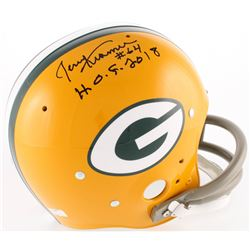 "Jerry Kramer Signed Packers Full-Size Throwback Suspension Helmet Inscribed ""H.O.F. 2018"" (Radtke CO"