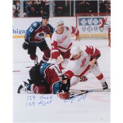 "Darren McCarty Signed Red Wings 16x20 Photo Inscribed ""127 Goals""  ""129 Fights"" (JSA COA)"