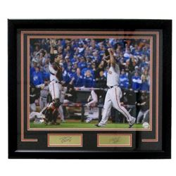 """Buster Posey  Madison Bumgarner Giants 22"""" x 27"""" Custom Framed Photo with Laser Engraved Signature"""