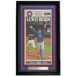 Cubs 18x30 Custom Framed 2016 World Series Champions Tribune Reign Newpaper Page Display