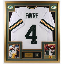 Brett Favre Signed Packers 34x38 Custom Framed Jersey Display with Replica Super Bowl Ring Inscribed