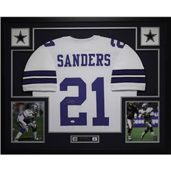 "Deion Sanders Signed Cowboys 35"" x 43"" Custom Framed Jersey (JSA COA)"