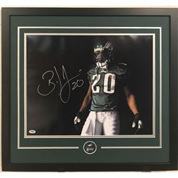 Brian Dawkins Signed Eagles 23x29 Custom Framed Photo Display (PSA COA)