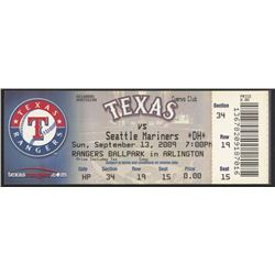 2009 Authentic Unused Rangers vs. Mariners Game Ticket