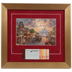 "Thomas Kinkade Disneyland ""Main Street USA"" 13x14 Custom Framed Print Display WIth Coupon Book"