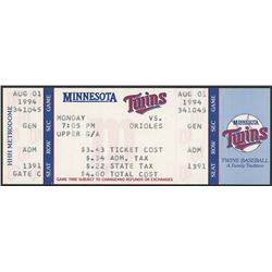 Cal Ripken Jr. Orioles vs. Twins Ticket from August 1, 1994