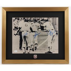 Roy White, Bucky Dent  Chris Chambliss Signed Yankees 17x20 Custom Framed Photo Display with Ring (J