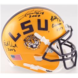 Billy Cannon, Jacob Hester  Justin Vincent Signed LSU Tigers Mini-Helmet With National Championship