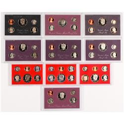 Lot of (10) United States Proof Set of Coins with 1980, 1981, 1982, 1983, 1984, 1985, 1986, 1987, 19