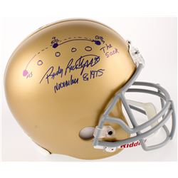 """Rudy Ruettiger Signed Notre Dame Fighting Irish Full-Size Helmet with Hand-Drawn Play Inscribed """"The"""