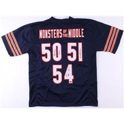 """Dick Butkus, Brian Urlacher  Mike Singletary Signed Bears """"Monsters of the Middle"""" Jersey Inscribed"""
