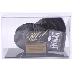 Mike Tyson Signed Pair of (2) Everlast Sparring Gloves with Display Case (JSA COA)