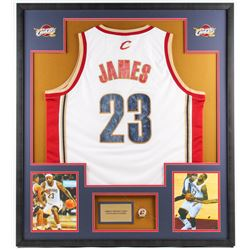 LeBron James Cavaliers 33.5x37.5 Custom Framed Jersey Display with Championship Ring