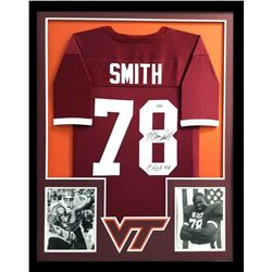 "Bruce Smith Signed Virginia Tech Hokies 34x42 Custom Framed Jersey Inscribed ""CHOF 06"" (Radtke COA)"