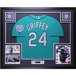 "Ken Griffey Jr. Signed Mariners 35x43 Custom Framed Jersey Display Inscribed ""HOF 16"" (TriStar)"