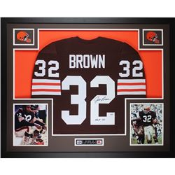 "Jim Brown Signed Browns 35x43 Custom Framed Jersey Inscribed ""HOF 71"" (PSA COA)"