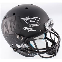 "Johnny Manziel Signed Texas AM Custom Matte Black Full-Size Helmet Inscribed ""'12 Heisman""  "" Johnny"