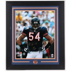 "Brian Urlacher Signed Bears 23.5x27.5 Custom Framed Photo Display Inscribed ""HOF 2018"" (Beckett COA)"