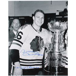 """Bobby Hull Signed Blackhawks 16x20 Photo Inscribed """"61 Cup Champs"""" (Schwartz COA)"""