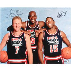 "Larry Bird  Magic Johnson Signed Team USA ""Dream Team"" 16x20 Photo with Michael Jordan (Schwartz COA"