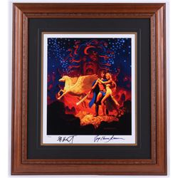 "Greg Hildebrandt  Ray Harryhausen Signed ""Clash of the Titans"" 22x24 Custom Framed Limited Edition L"