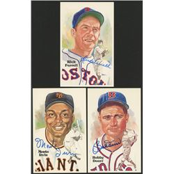 Lot of (3) Perez-Steele LE Hall of Fame Postcards Signed By Monte Irvin, Bobby Doerr  Rick Ferrell (