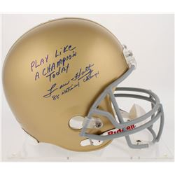 "Lou Holtz Signed Notre Dame Fighting Irish Full-Size Helmet Inscribed ""Play Like a Champion Today"""