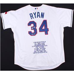 Nolan Ryan Signed LE Rangers Career Highlight Stat Jersey (Beckett COA  Ryan Hologram)