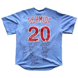 1980 Phillies Jersey Team-Signed by (24) with Bob Boone, Larry Christenson, Garry Maddox, Kevin Sauc